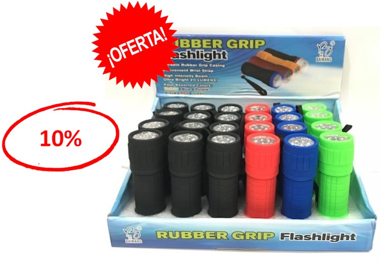 ONPRUBBER  LINTERNA LED RUBBER GRIP (Expositor 24 unid.)